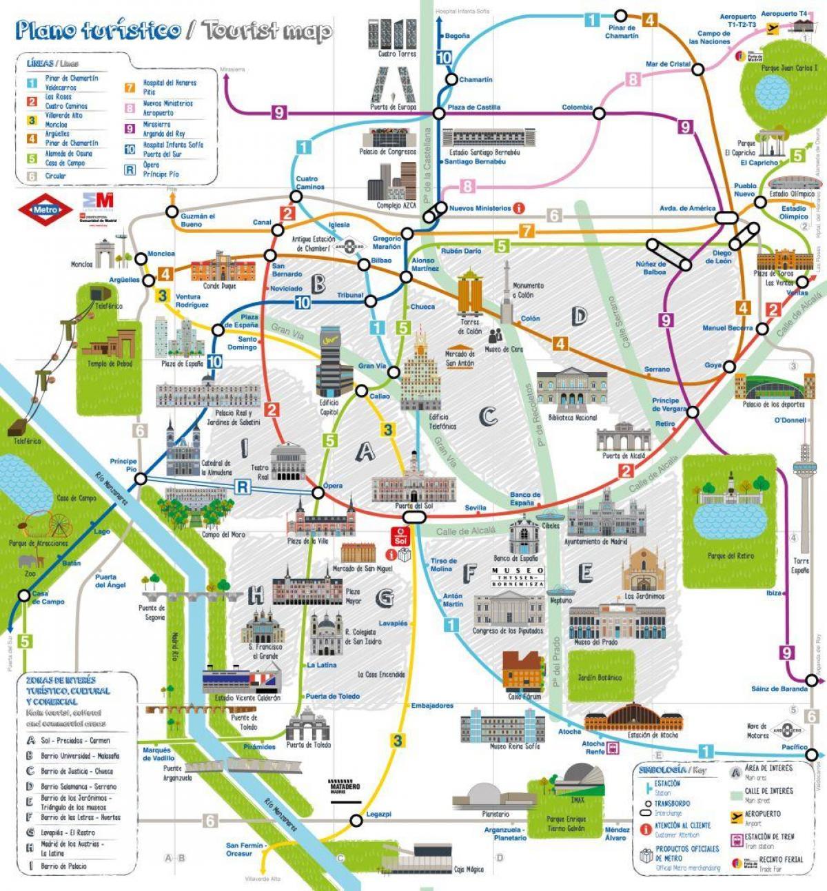 Cartina Turistica Spagna.Madrid Mappa Della Citta Mappa Turistica Di Madrid Spagna